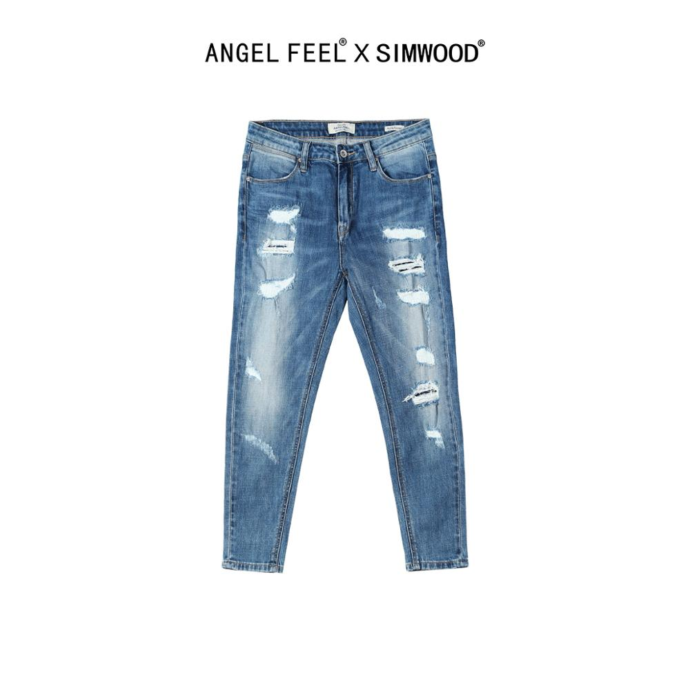SIMWOOD 2020 Spring Summer New Hole Jeans Woman Ripped Denim Pants High Quality Plus Size Women Slim Fit Trousers SW007