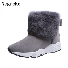 Women Snow Boots Winter Warm Fur Plush Boots for Women Slip On Flat Platform Shoes Thick Fur Cotton Shoes Botas Femininas