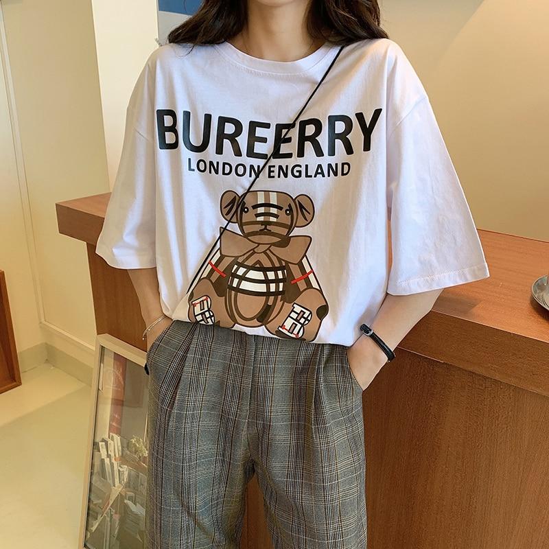 GRUIICEEN Streetwear Chic Oversized Cartoon T Shirt Short Sleeve T Shirt Femme Round Neck Long Top Tee Brand New Collection
