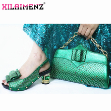2020 Green Color Lady Shoes With Matching Bags Set Italian Womens Party Shoes and Bag Sets Comfortable Heels For Wedding
