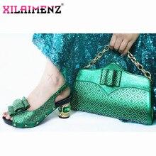 2020 ירוק צבע ליידי נעליים עם שקיות התאמה סט איטלקי נשים של המפלגה נעלי וערכות תיק נוח עקבים עבור חתונה