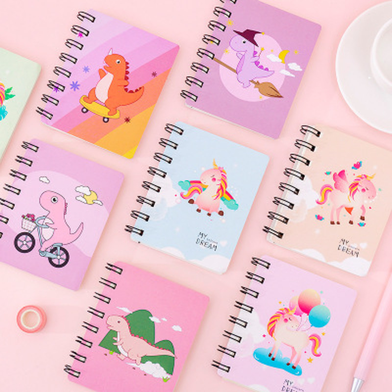 1pcs Unicorn Coil Novelty Stationery Dinosaur Notebook Student Cute Pocket Planner Cartoon Paper Organizer School Supplies