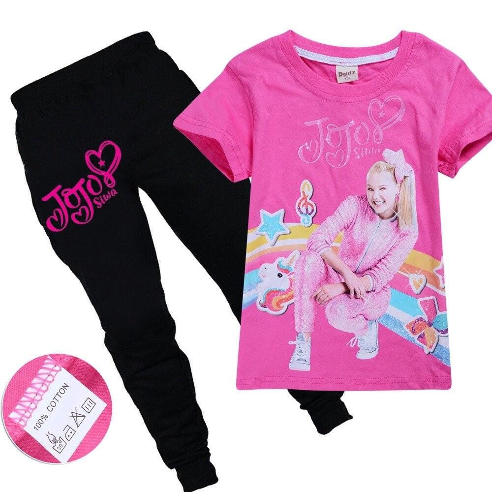 JOJO SIWA/Детские футболки хлопковые футболки для маленьких девочек комплекты с короткими рукавами для мальчиков и девочек футболки Одежда