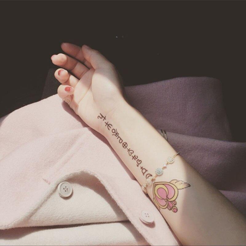 Water Transfer Tattoo Cute Sailor Moon Angel Heart Magic Wand Tatoo Waterproof Temporary Flash Tatto Fake Tattoo For Kids Woman