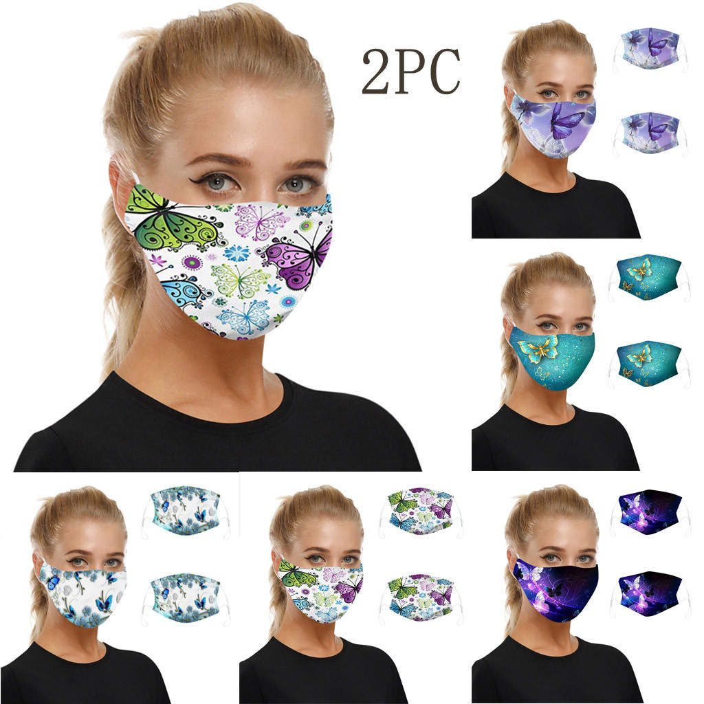 2PC Reusable Breathable Masks Face Shiled Universal Dust-proof Smog-washable Mask Respirator For Adults In Europe And America