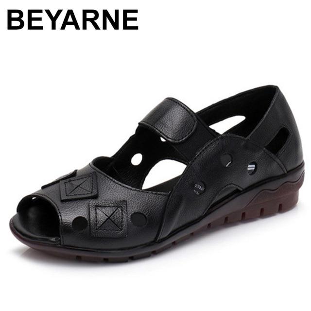 BEYARNE 2019New Spring Summer Wedges Sandals Women Hollow Casual Women Shoes Genuine Leather Sandals Woman Peep Toe Big SizeE334