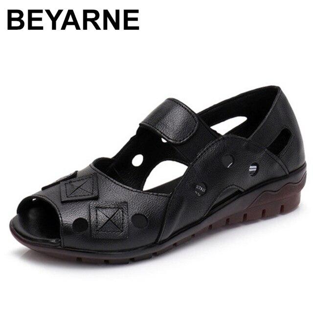 BEYARNE 2019New bahar yaz takozlar sandalet kadın Hollow Casual kadın ayakkabı hakiki deri sandalet kadın Peep Toe büyük SizeE334