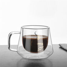 Transparent glass coffee cup milk tea beer heat resistant double wall cocktail vodka cup beverage vessel Tumbler Cup