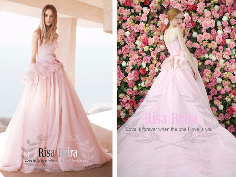 New Arrival Flowers Pink Long Sweetheart 2018 Vestido De Noiva Romantic Long Ball Bridal Gown Mother Of The Bride Dresses