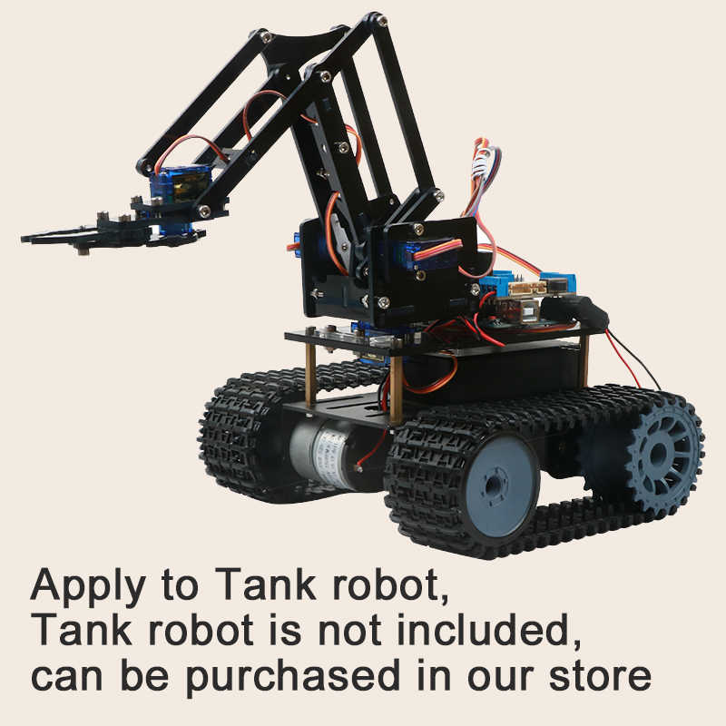 4DOF DIY רובוט זרוע ערכת חינוכיים רובוטיקה טופר סט מכאני זרוע עבור Arduino R3, PS2/2.4G אלחוטי שליטה, Scracth תכנות