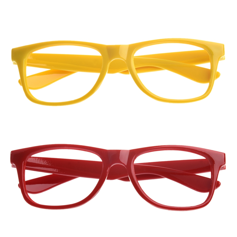 2 Pcs Stylish Boys Girls Children Kids Party Accessories Glasses Frame No Lenses New - Red & Yellow