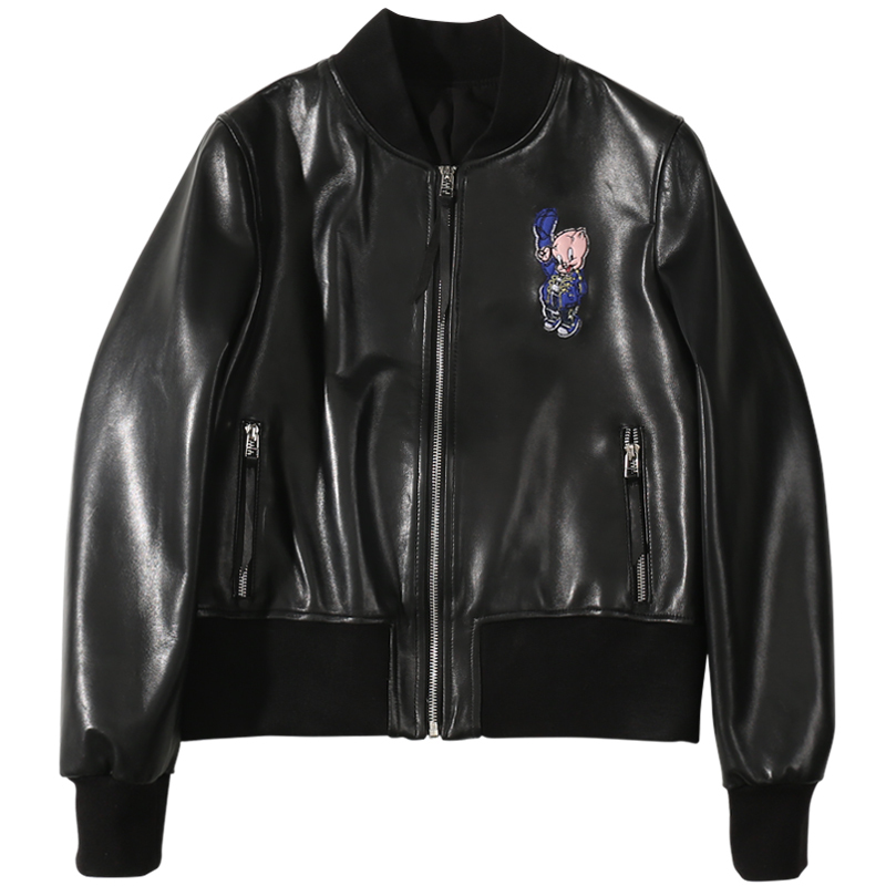 2020 SpringShort Paragraph Baseball Uniform Auspicious Pig Embroidery Leather Jacket  Genuinet Women  Real Leather Jacket