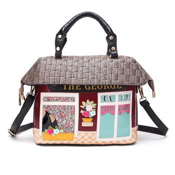 Women Bags Leather Patchwork Embroidery Handbags Girl Shoulder Bags Messenger Bag Totes Braccialini  Style Art Cartoon House