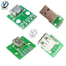 Микро-мини-usb разъем Usb 2,0 3,0 A гнездовой USB разъем для 2,54 мм DIP PCB адаптер конвертер плата панель модуль