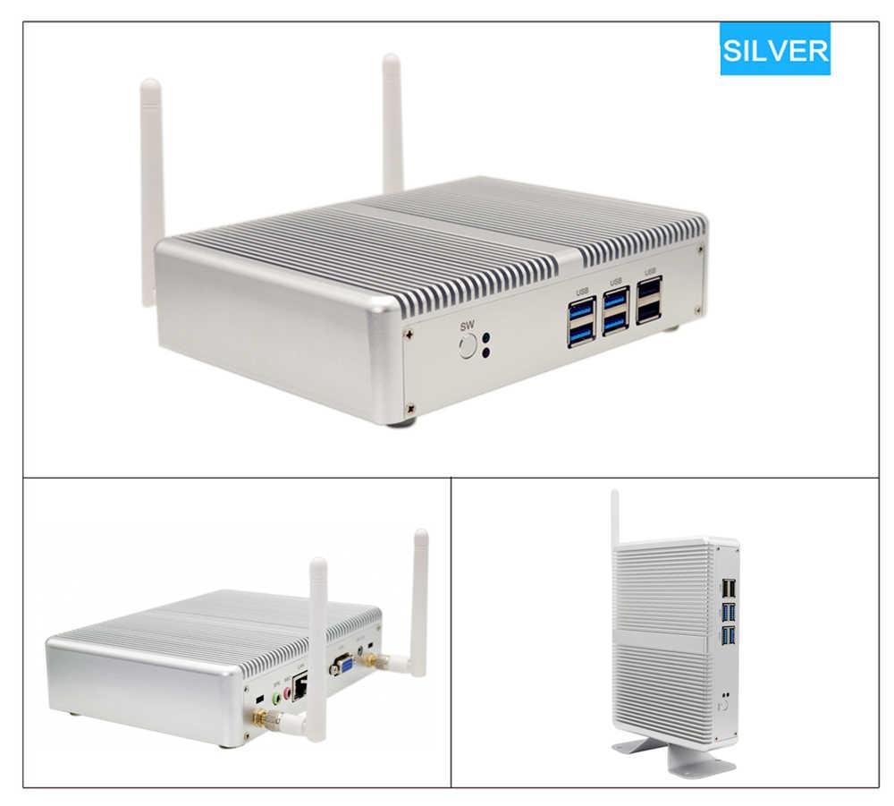 Eglobal barato sin ventilador Mini PC Windows 10 Pro Intel i5 7200U i3 7100U i7 4500U DDR4/DDR3 Barebone ordenador 4 K HTPC WiFi HDMI VGA