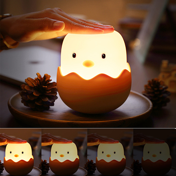 Creative chick cute silicone led night light pat charging plug child sleeping baby feeding bedside bedroom table lamp gx diffuser creative sleeping night lamp decoration table lamp warm light for bedroom