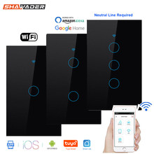 Wifi Smart Light Switch Glass Screen Touch Panel Voice Control Wireless Wall work with Alexa Echo Google Home 1/2/3-Gang(China)