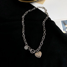Punk Silver color Chain Metal Collar Choker Necklace Femme Fashion Hiphop Heart Pendant Necklaces Colares Bijoux For Women gifts simple gold color 3d heart pendant choker necklaces for women new fashion trendy chain necklace collar jewelry gifts