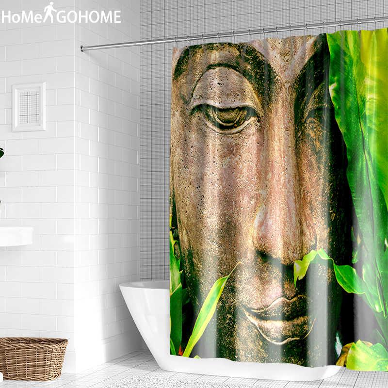 Buddha Shower Tirai 3D Hijau Daun Tirai Kamar Mandi BoHo Dekorasi Rumah Tahan Air Mildewproof Kain Mandi Tirai Mudah Dicuci Besar