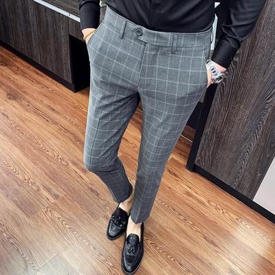 Checked Pants Men Camicia Uomo Slim Fit Men's Dress Pants Plaid Formal Trousers Office Costume Homme Business Suit Pants 2020
