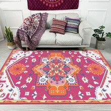Alfombra decorativa de sala de estar de estilo étnico rosa roja para escalada de dormitorio alfombras de área de juegos de pasillo antideslizante
