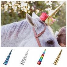 """ขนาดใหญ่ขนาด 8 """"Unicorn Horn สำหรับม้า Photo PROP 2020 สาวยูนิคอร์นวันเกิด DIY Glitter คลิปผมคอสเพลย์อุปกรณ์เสริมผม"""