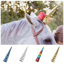 """Large Size 8"""" Unicorn Horn For Horse Photo Prop 2020 Girls Unicorn Birthday Party DIY Glitter Hair Clip Cosplay Hair Accessories"""