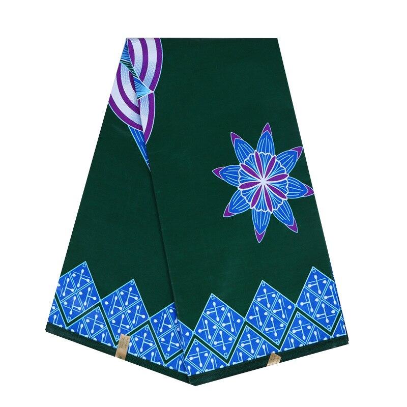 2020 Latest Arrivals 100% Cotton Blue & Purple Flower Print Wax Dark Green Fabric Ankara Dutch Wax
