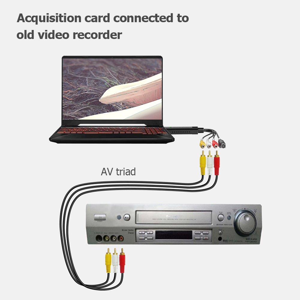 HW-1401 USB2.0 Video Acquisition Tuner Card Classic Colors and Simple Durable Design with Audio Adapter RCA Audio Converter 2