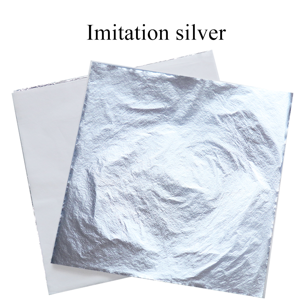 Imitation Silver Foil Silver Gold Leaf Sheets 14cm 16cm 1000pcs For Gilding Home Decoration Arts And Crafts Aluminum Foil Paper