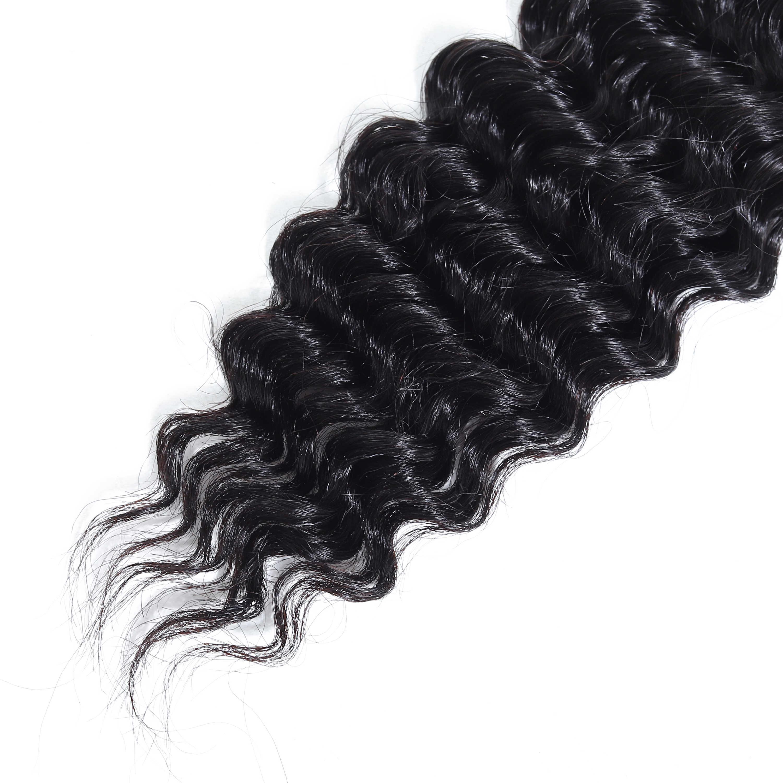 Koningin Haarproducten Maleisische Diepe Golf Haar Bundels 3 Bundels 100% Remy Natuurlijke Zwarte Menselijk Haar Bundels Kan Kopen Met sluiting
