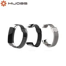 Mijobs מתכת רצועת עבור Huawei כבוד להקת 3 רצועת שעון להקת נירוסטה צמיד עבור Huawei כבוד להקת 3 חכם אבזרים
