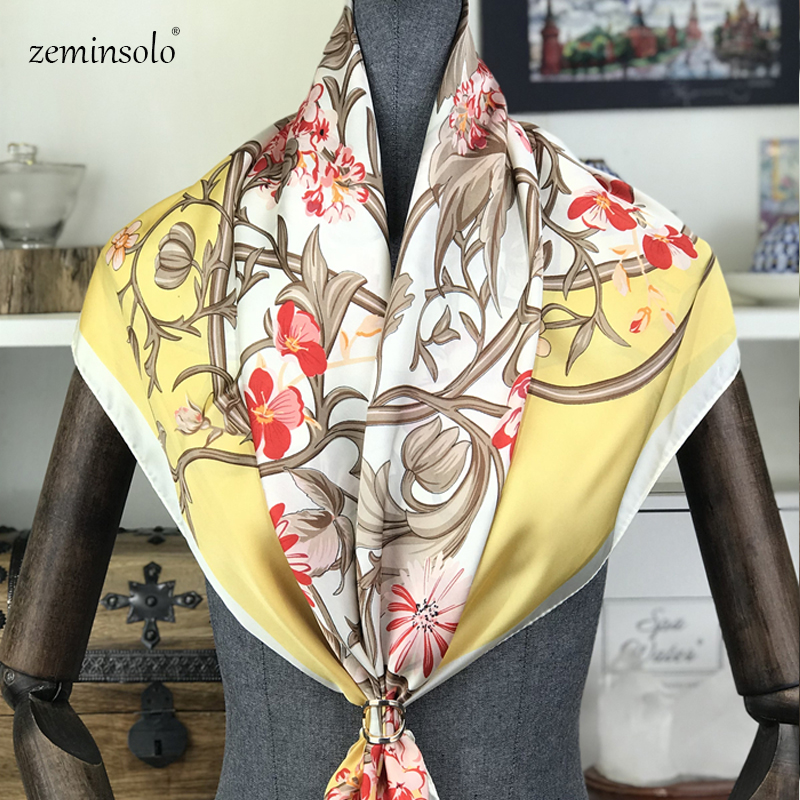 Printed Floral <font><b>Scarves</b></font> Stoles Wraps Fashion Ladies Square Satin <font><b>Silk</b></font> <font><b>Scarf</b></font> <font><b>90</b></font><font><b>*</b></font>90cm Luxury Brand Bandana <font><b>Scarves</b></font> Shawls For Women image