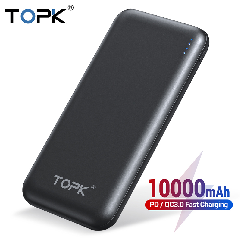 TOPK Power Bank 10000mAh Portable Charger Quick Charge 3.0 Type C PD Fast Charge Powerbank Battery External Bank Pack For Xiaomi