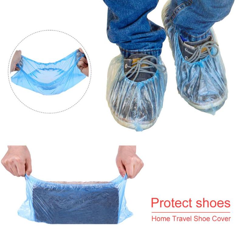 100pcs/pack Waterproof Rain Shoes Boot Covers Plastic Disposable Overshoes Pink Blue Shoes Cover Camping Hiking Accessories