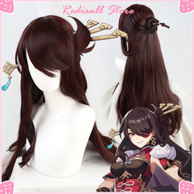 Genshin impacto beidou peruca cosplay escuro cabelo castanho destacada buns resistente ao calor adulto feminino halloween role play livre peruca boné