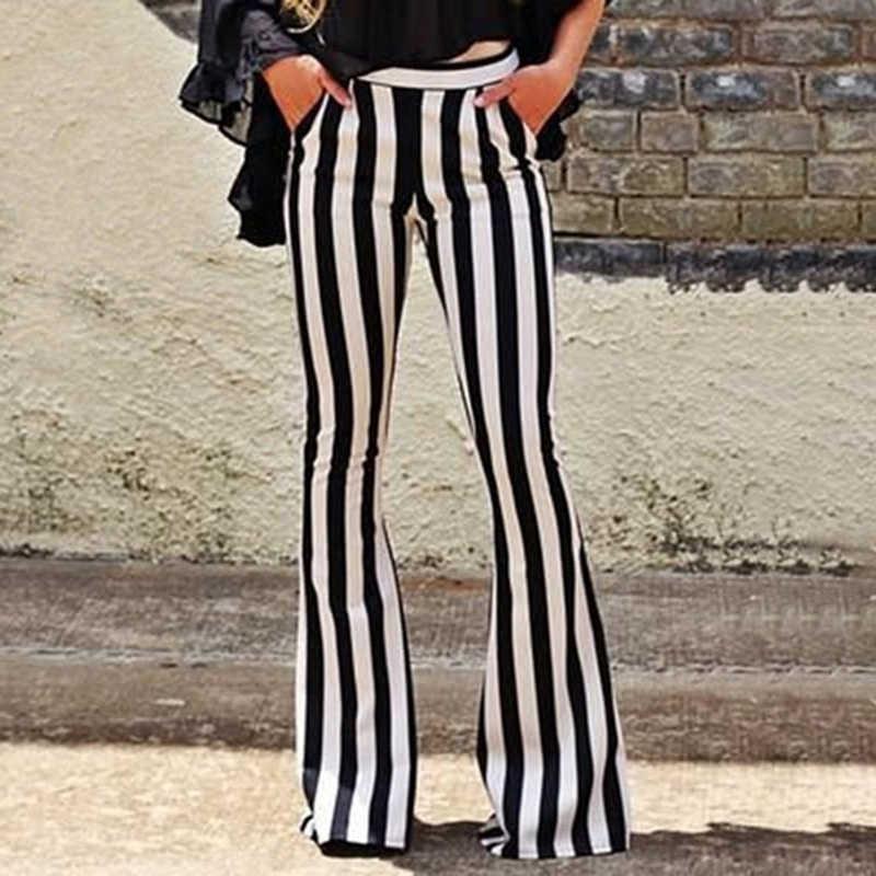 Nieuwe Collectie Vrouwen Lange Broek Mode Gestreepte Flared Broek Heigh Qaulity Casual Pocket Slim Fit Mid Taille Strepen Broek Hot koop