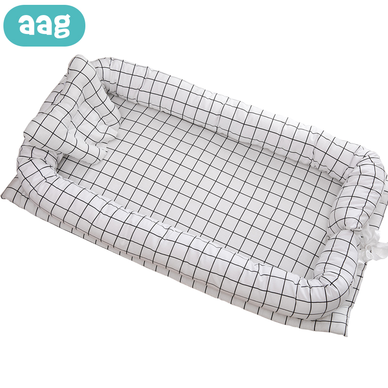 AAG Cotton Portable Baby Nest Bed Cradle Newborns Cot Foldable Washable Printing Baby Nest Travle Babynest Infant Crib Bumper