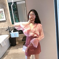Women Skirt Peter pan Collar Flare Sleeve V Neck Very Small Design Pressure Plait + Pink Bag Hip Skirts Single White Blouse 7858