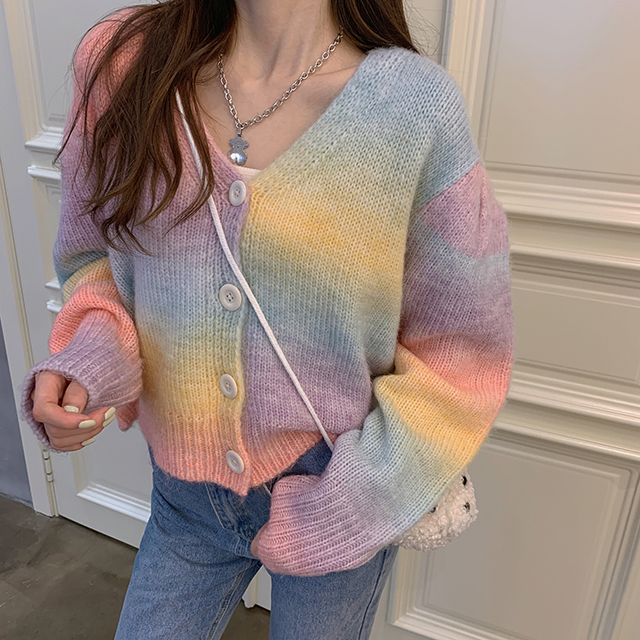 Arc-en-ciel tricoté Cardigan femmes hiver doux pull court Cardigan femme High Street Streetwear pull coréen manteau femmes 2021