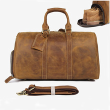Crazy Horse Сумка для путешествий из натуральной кожи Мужская винтажная дорожная сумка для путешествий большая коровья кожа переносить багаж, для отпуска большая сумка на плечо