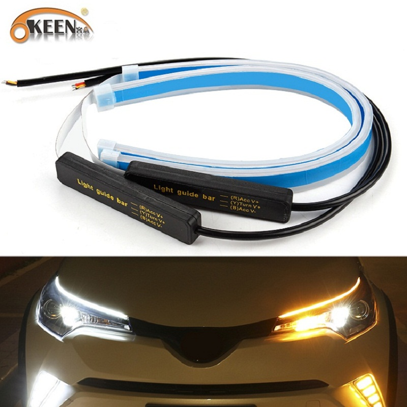 OKEEN 2x Ultrafine Cars DRL LED Daytime Running Lights White Turn Signal Yellow Guide Strip For Headlight Assembly Drop Shipping