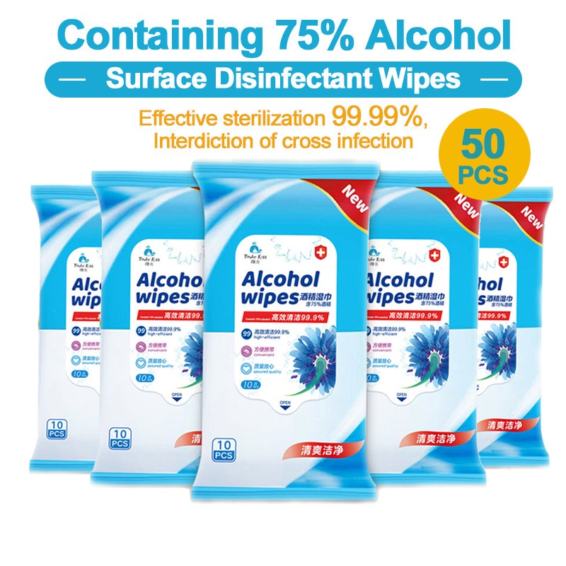 50pcs Alcohol Disinfect Wipes 75% Alcohol Wipe Super Soft Antiseptic Pads Large First Aid Cleaning Wet Wipes Sterilization
