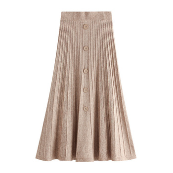 Autumn Winter Women Long Knitted A-Line Skirt Female Elegant Fashion Vintage High Waist Knit Pleated Skirt Lady All-match Skirt