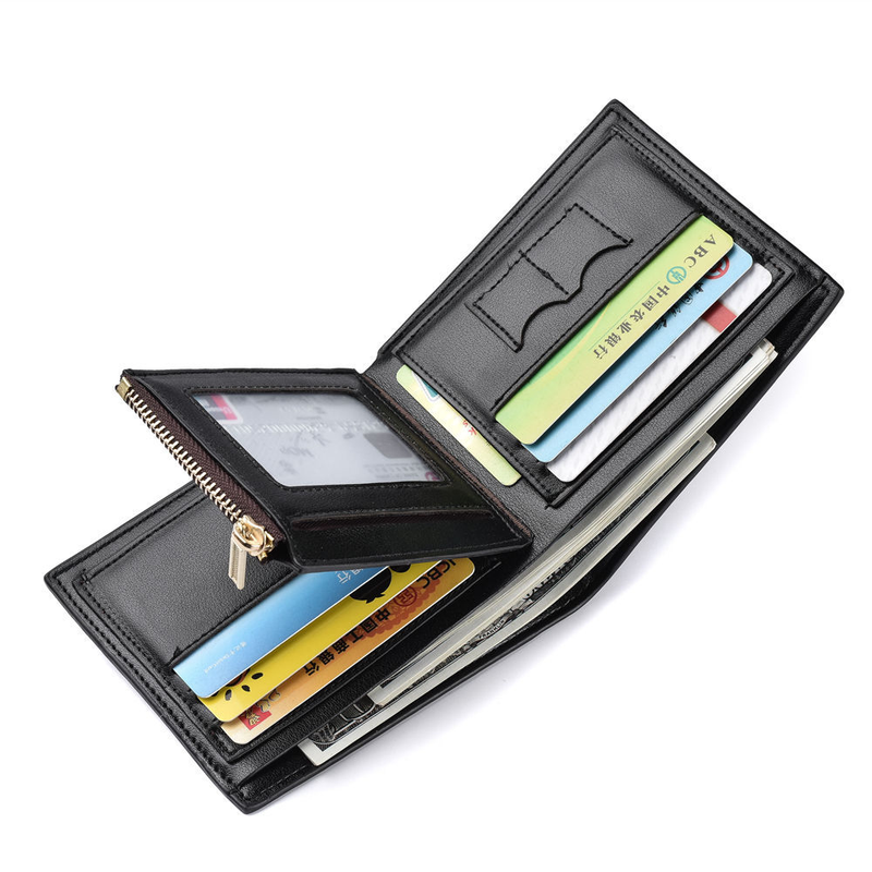 Men PU Leather Wallet Two Folding Male Business Multi-card Wallet Zipper Coin Purse Credit Card Holder Solid Color Short Wallets