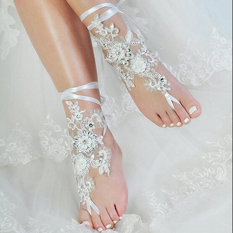 Beach Wedding Shoes For Women Lace Appliques Bridal Accessories 2020 Open Toe White Ivory Anklets Bridal Shoes With Pearls