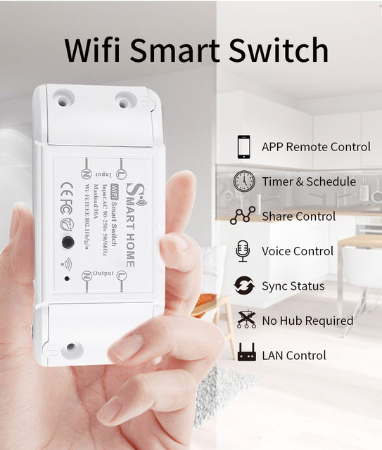 New DIY Smart Wireless Remote Switch Socket Smart Home Automation Remote Control Switch Relay Smart Life/Tuya with Alexa Google 4