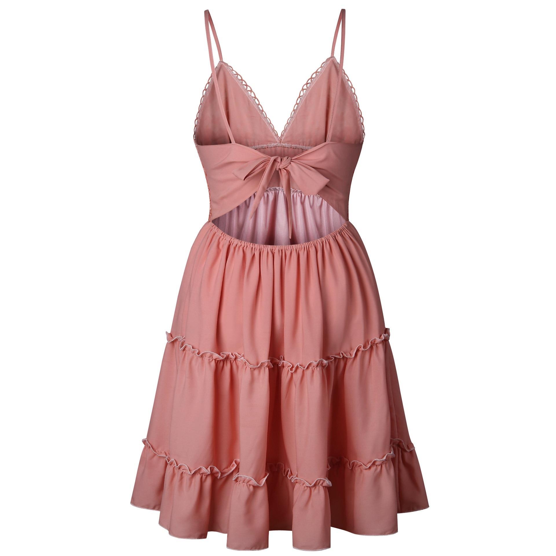 Summer Women White Lace Halter Dress Sexy Backless Beach Dresses 2020 Fashion Sleeveless Spaghetti Strap Casual Mini Sundress 4