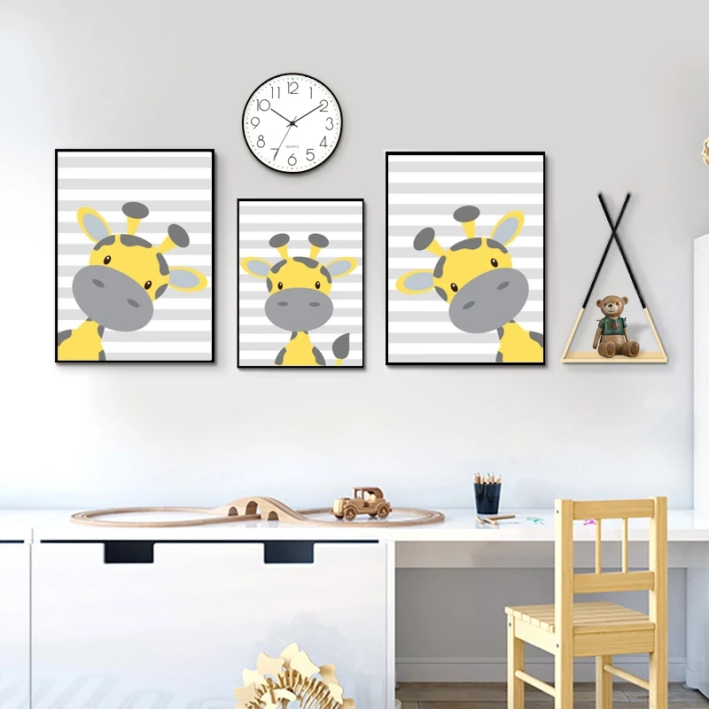 Abstract Yellow Grey Cartoon Giraffe Paintings Wall Art Nordic Canvas Prints and Posters Living Room Bedroom Corridor Decoration