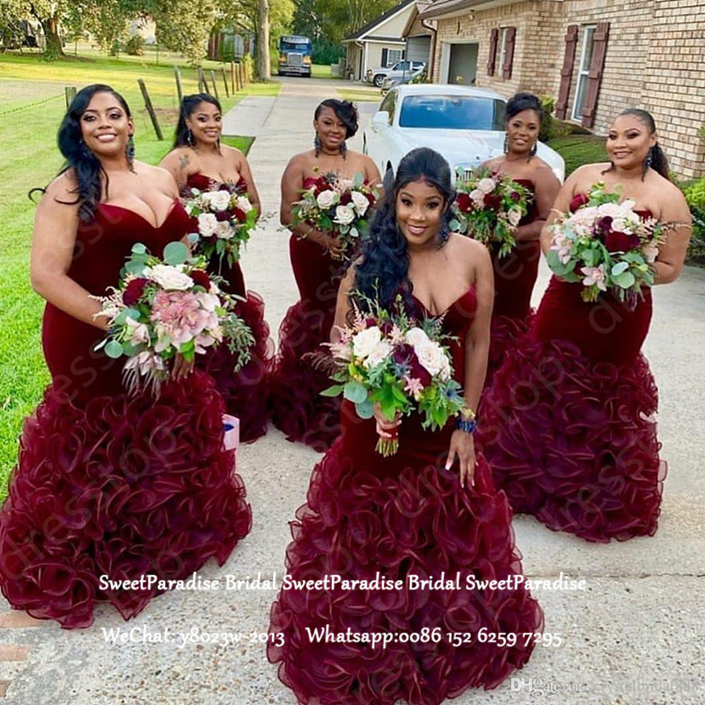 Luxury Bridesmaid Dresses Burgundy Organza Long Tiered Ruffles Mermaid Sweetheart Neck Wedding Guest Dress Party For Women